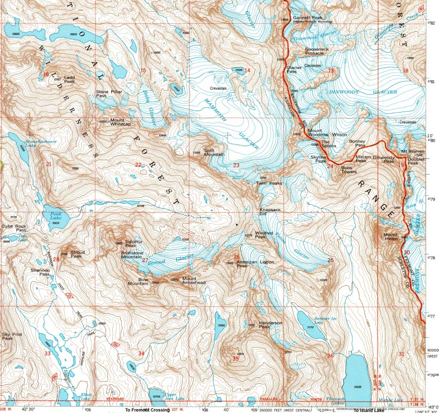 Wind River Range Wyoming Map.Gannett Peak Northern Rocky Mountain Climbing Trips Map